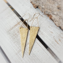 Load image into Gallery viewer, Edgy Triangle Earrings | Brass | 14k Gold Fill