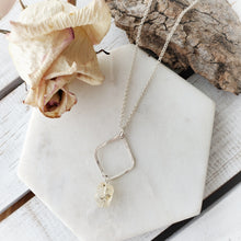 Load image into Gallery viewer, Hammered Geometric Necklace | Raw Topaz | Sterling Silver