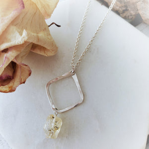 Hammered Geometric Necklace | Raw Topaz | Sterling Silver