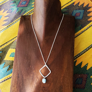 Hammered Geometric Necklace | Larimar | Sterling Silver