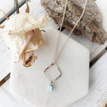 Load image into Gallery viewer, Hammered Geometric Necklace | Larimar | Sterling Silver