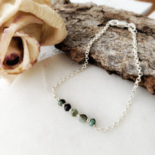Load image into Gallery viewer, Dainty Bracelet | Emerald | Sterling Silver