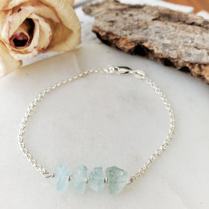 Raw Crystal Bracelet | Aquamarine | Sterling Silver