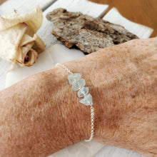 Load image into Gallery viewer, Raw Crystal Bracelet | Aquamarine | Sterling Silver