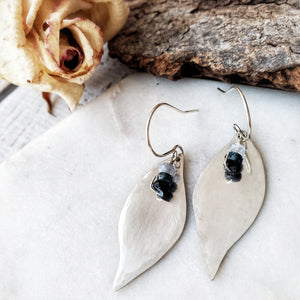 Botanical Leaf Earrings | Sapphire | Sterling Silver