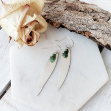 Load image into Gallery viewer, Long Gum Leaf Earrings | Emerald | Sterling Silver