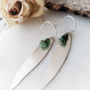 Long Gum Leaf Earrings | Emerald | Sterling Silver