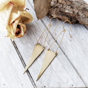 Long Triangle Earrings | Brass | 14k Gold Fill