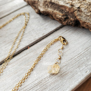 Raw Crystal Pendant | Golden Topaz | 14k Gold Fill