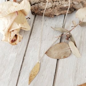 Gum Leaf Necklace | Brass