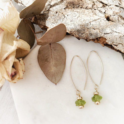Raw Crystal Earrings | Peridot | 14k Gold Fill