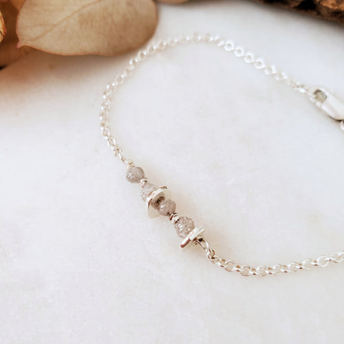 Birthstone Bracelet | Raw Diamond | Sterling Silver