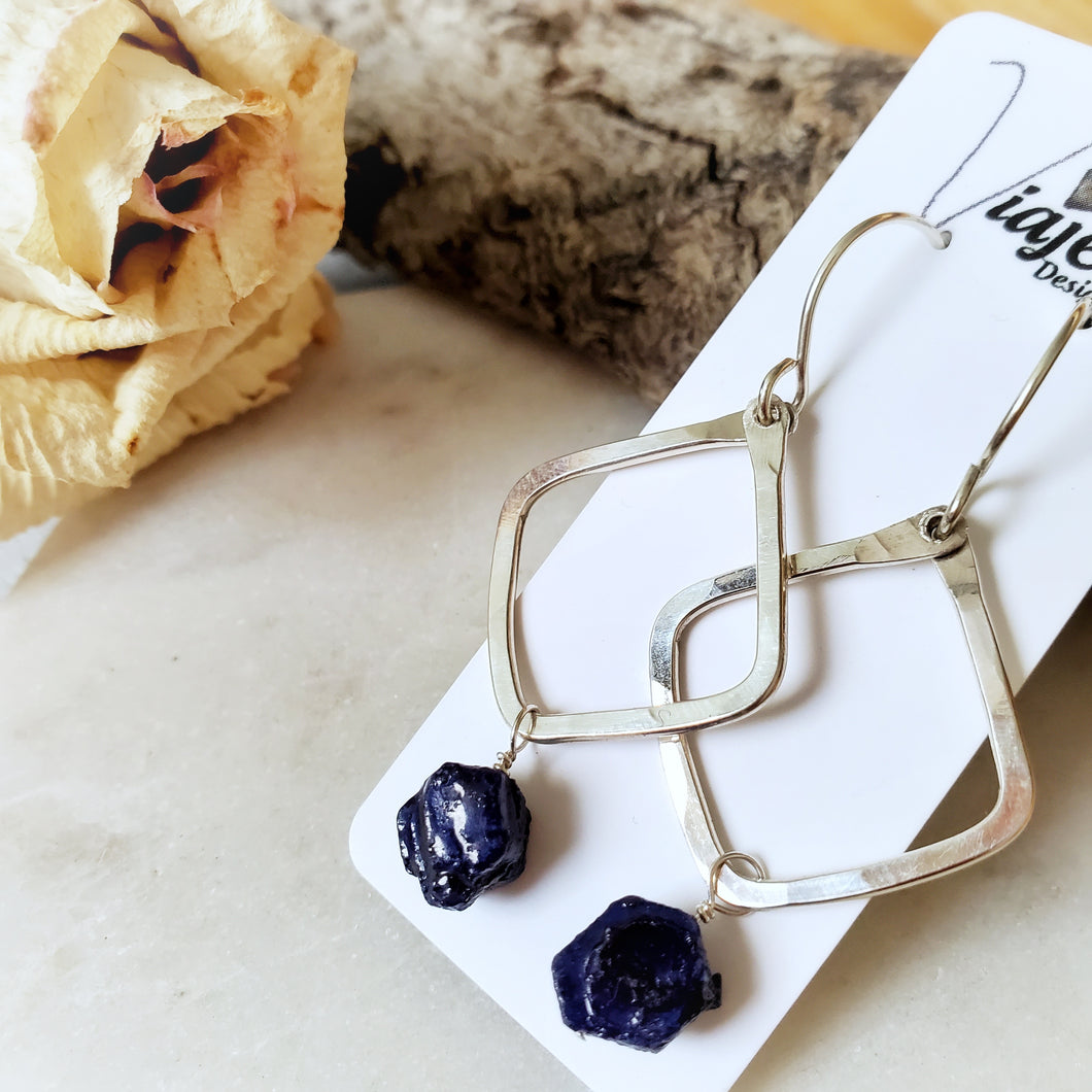 Hammered Geometric Earrings | Raw Sapphire | Sterling Silver