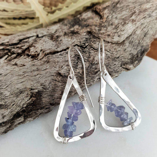 Geometric Earrings | Tanzanite | Sterling Silver
