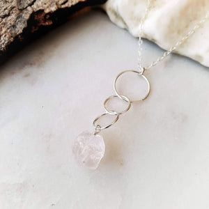 Triple Hoop Necklace | Rose Quartz | Sterling Silver