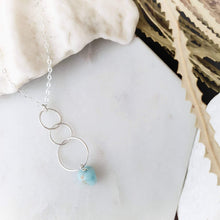 Load image into Gallery viewer, Triple Hoop Necklace | Larimar | Sterling Silver