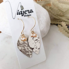 Load image into Gallery viewer, Botanical Leaf Earrings | Freshwater Pearl | Sterling Silver