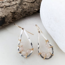 Load image into Gallery viewer, Teardrop Earrings | Rose Quartz | Sterling Silver