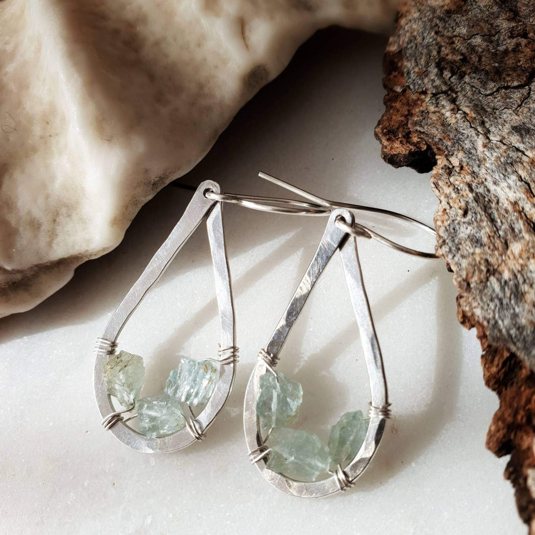 Teardrop Earrings | Aquamarine | Sterling Silver