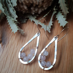 Teardrop Earrings | Rose Quartz | Sterling Silver