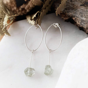 Stylish Drop Hoop Earrings | Green Amethyst | Sterling Silver