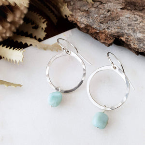 Drop Circle Earrings | Larimar | Sterling Silver