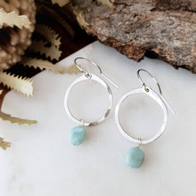 Load image into Gallery viewer, Drop Circle Earrings | Larimar | Sterling Silver