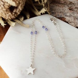 Small Crescent Moon Necklace | Tanzanite | Sterling Silver