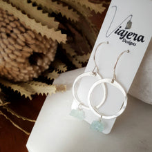 Load image into Gallery viewer, Drop Circle Earrings | Aquamarine | Sterling Silver