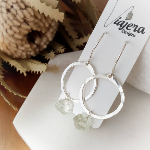 Drop Circle Earrings | Green Amethyst | Sterling Silver