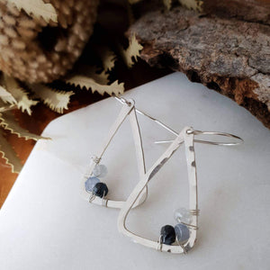 Hammered Geometric Earrings | Sapphire | Sterling Silver