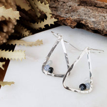 Load image into Gallery viewer, Hammered Geometric Earrings | Sapphire | Sterling Silver