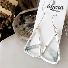 Load image into Gallery viewer, Hammered Geometric Earrings | Aquamarine | Sterling Silver