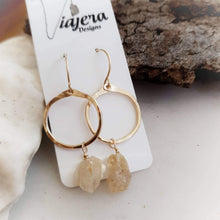 Load image into Gallery viewer, Gold Circle Earrings | Green Amethyst | 14k Gold Fill