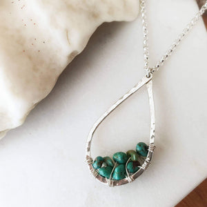 Teardrop Pendant Necklace | Turquoise | Sterling Silver