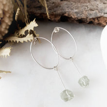 Load image into Gallery viewer, Stylish Drop Hoop Earrings | Green Amethyst | Sterling Silver