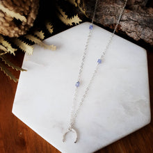 Load image into Gallery viewer, Small Crescent Moon Necklace | Tanzanite | Sterling Silver