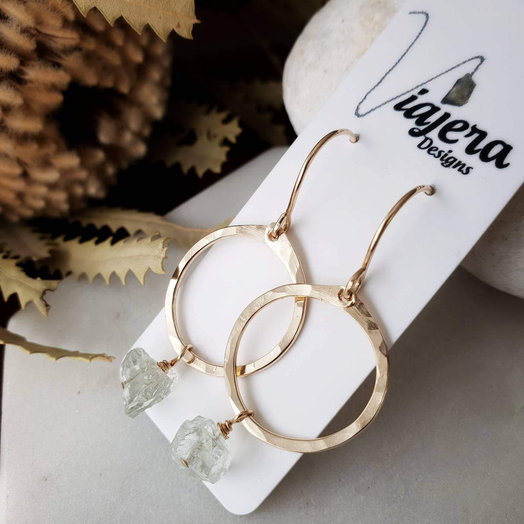 Gold Circle Earrings | Green Amethyst | 14k Gold Fill