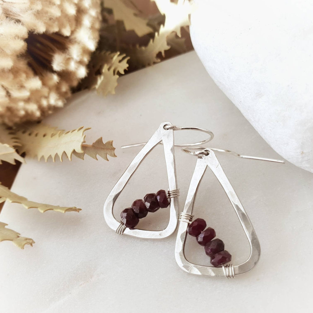 Geometric Earrings | Ruby | Sterling Silver