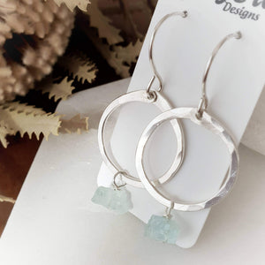 Drop Circle Earrings | Aquamarine | Sterling Silver