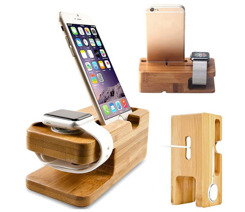 Bamboo iPhone Apple Watch Charging Stand