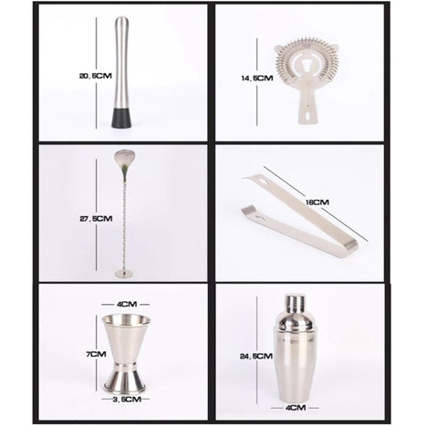 Stainless steel bartender set with bamboo stand