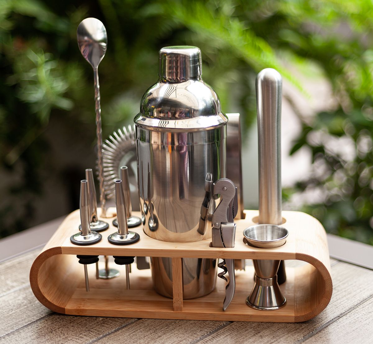 Stainless Steel Cocktail Shaker Set with Bamboo Stand