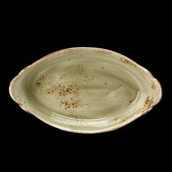 Steelite Craft Green Oval Eared Dish 34 x 19cm (Case Size 6)