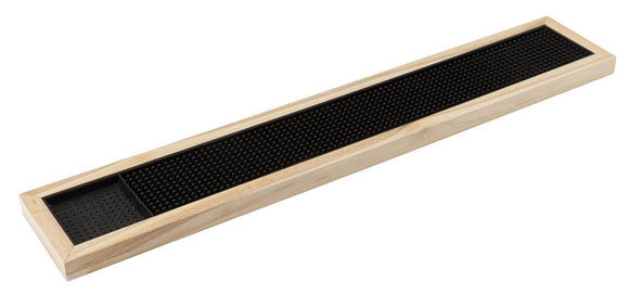 Deluxe Black Rubber  Bar Mat With Wooden Frame  24″ x 4″