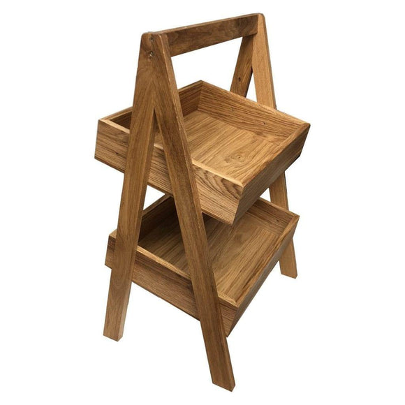 2-Tier Slanted Oak A-Frame Display Stand 410x310x650