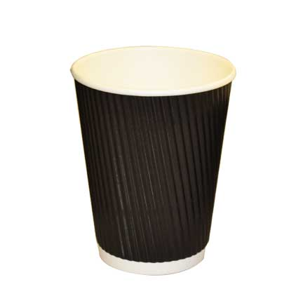 Revived 100% Recycled Ripple Cup – Black – 12oz/360ml