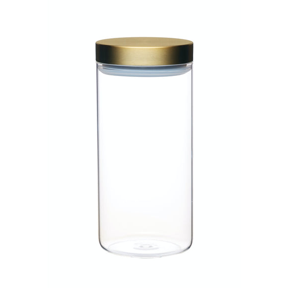 MasterClass Airtight Medium Glass Food Storage Jar with Brass Lid 1.5 Litre