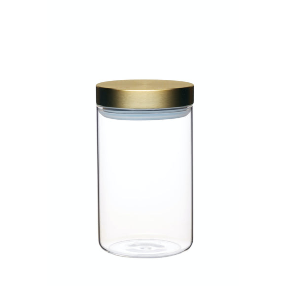MasterClass Airtight Medium Glass Food Storage Jar with Brass Lid 1 Litre