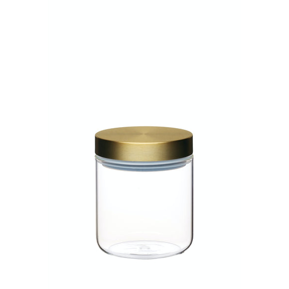 MasterClass Airtight Small Glass Food Storage Jar with Brass Lid 700ml